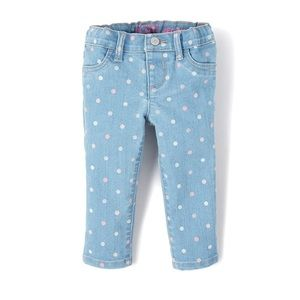 NWT Place Blue Dotted Jeans Denim Jeggings 18-24mo
